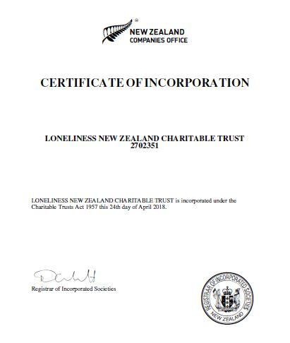 Loneliness NZ certificate of incorporation