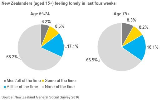 Pie charts showing by age group Senior New Zealanders aged 65+ feeling lonely in last four weeks